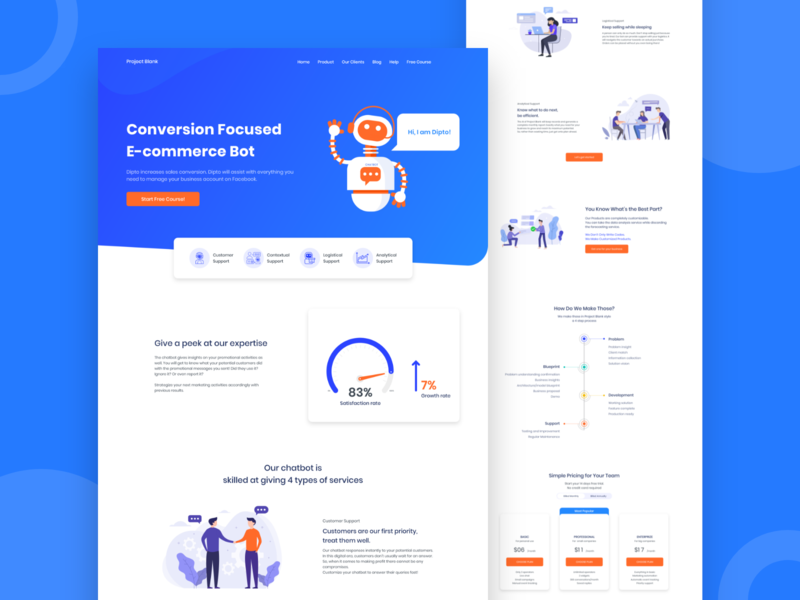 Project Blank | Chatbot Landing Page app character design artificial intelligence chatbot vector flat adobe xd website icon web design ux ui trend landing page graphic design colorful branding minimal illustration 2019