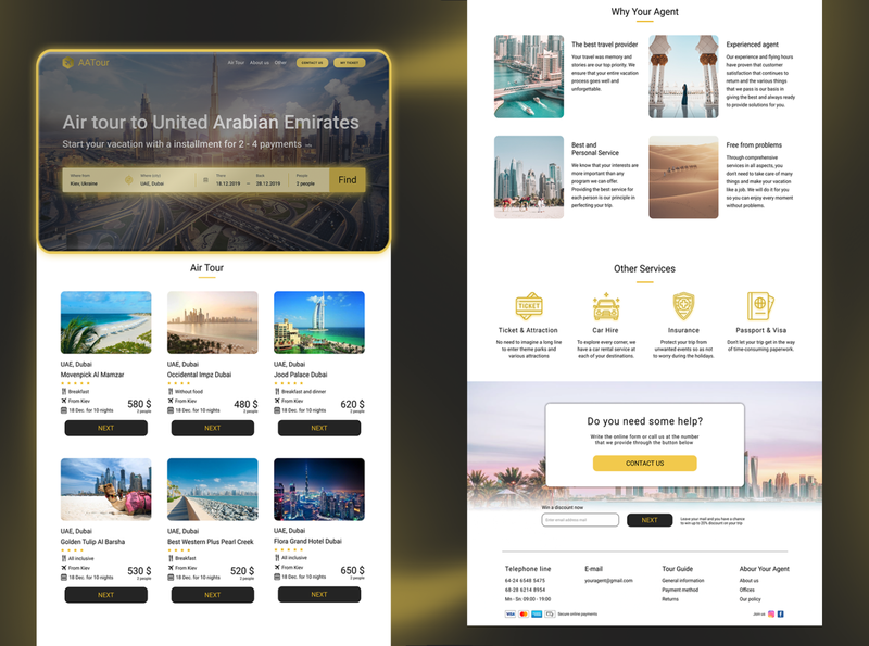 Landing page of air tour