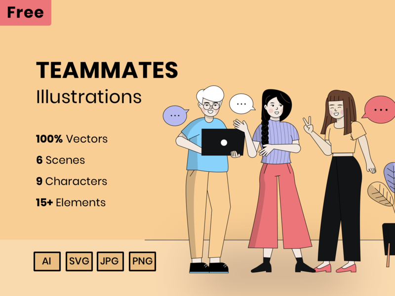 Free Teammates Character Vector Illustrations character design presentation vector art colors teamwork illustrator freebies freebie free vector illustration illustration art vector clean design creative illustration