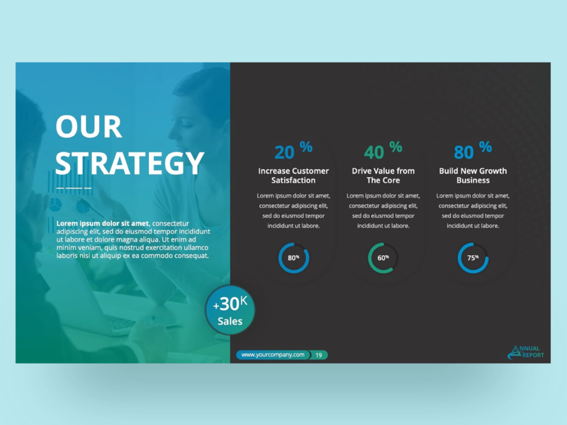 Annual Report PowerPoint Presentation Template presentation design strategy ppt template template design report annual template slide clean presentation powerpoint infographic business powerpoint template