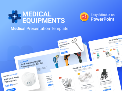 Medical Equipment PowerPoint Presentation medical design products health healthcare hospital doctors medical care medical ppt template slides pptx clean presentation creative powerpoint design infographic powerpoint template