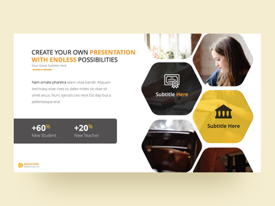 Education PowerPoint Presentation Template product illstration teacher studying student team charts education project slides pptx clean presentation creative powerpoint design infographic business powerpoint template