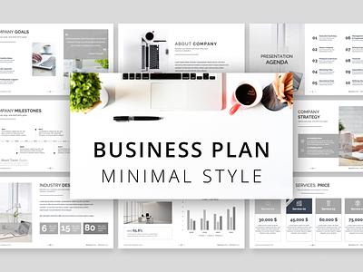 Minimal Style Business Plan PowerPoint Presentation chart team goals business plan style minimalist minimal work slides pptx clean presentation creative powerpoint infographic design business powerpoint template