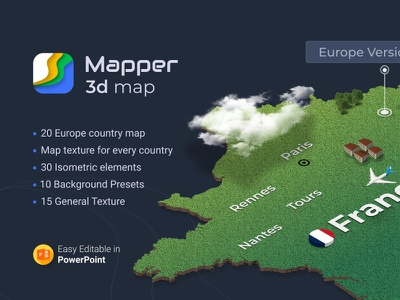 3D Mapper - 20 European Maps for Powerpoint 3d illustrations travelling clean map illustration flags backgrounds isometric textures travel countries pptx powerpoint creative design powerpoint template europe 3d maps