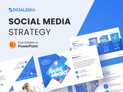 Socialedia – Social Media Strategy Presentation Template social media icons behance linked in twitter instagram facebook social network social media design strategy social media slides pptx clean presentation creative infographic powerpoint design business powerpoint template