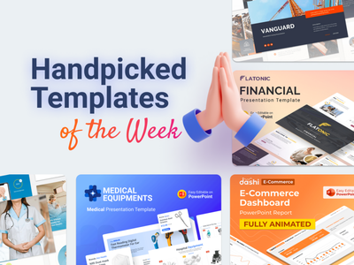 Our Handpicked Templates of the week 🔥 financial project dashboard ui chart health medical ui logo illustration presentation creative infographic powerpoint design business powerpoint template