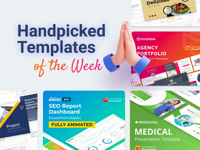 Our Handpicked Templates of the week 🔥 mockup hospitals medical restaurant food multipurpose agency portfolio chart dashboard seo ui logo illustration presentation creative infographic powerpoint design business powerpoint template