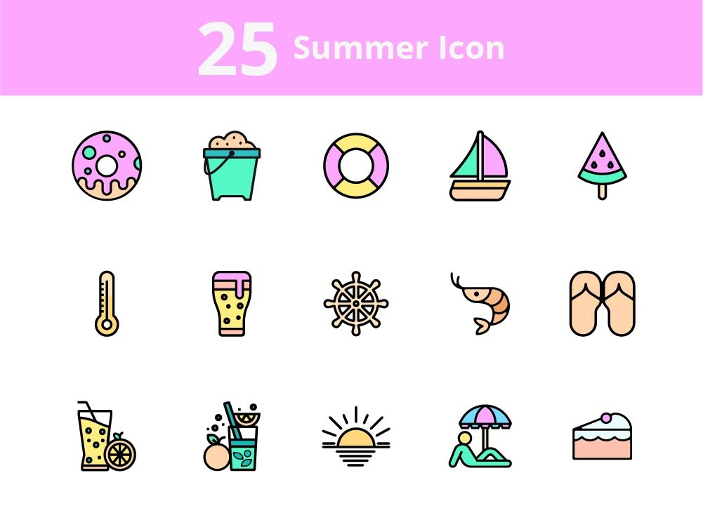 25 Free creative Summer Icons set (PPTX-SVG-PNG) by Premast