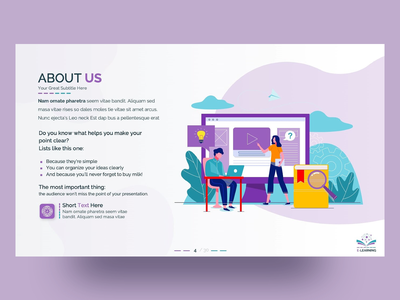 E-Learning PowerPoint Presentation Template illustration presentation student elearning learning education inspiration clean aboutus infographics charts creative freebies ppt template design powerpoint free infographic slides powerpoint template