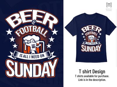 Beer & Football T Shirt Design.