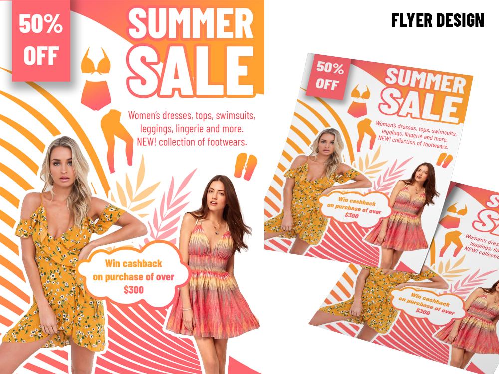 Summer Sale Flyer Banner Design. graphic design summer sale banner print design photoshop illustraion brochure design leaflet flyer design banner design