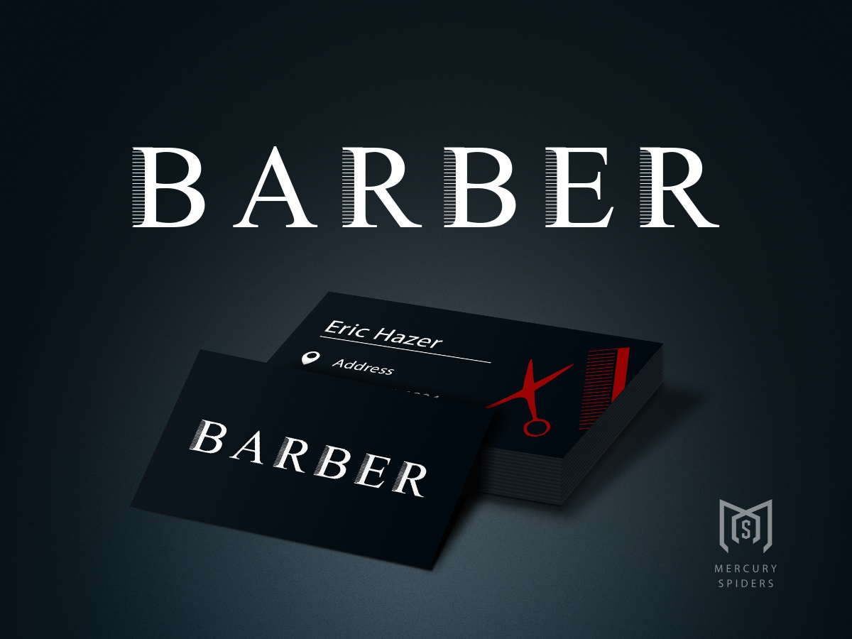 Barber Logo And Business Card Design. mockup typography business card graphic design branding salon logo barber