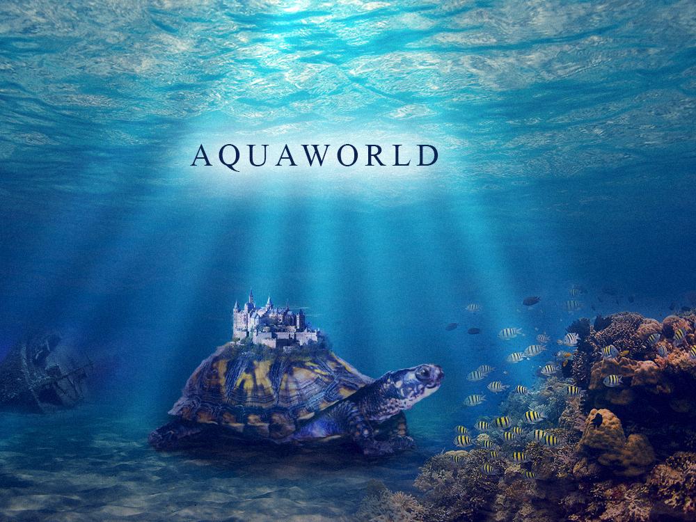 Aquaworld Compositing In Photoshop fantasy art hero image landing page poster photoshop art underwater ship fish turtle compositing photoshop
