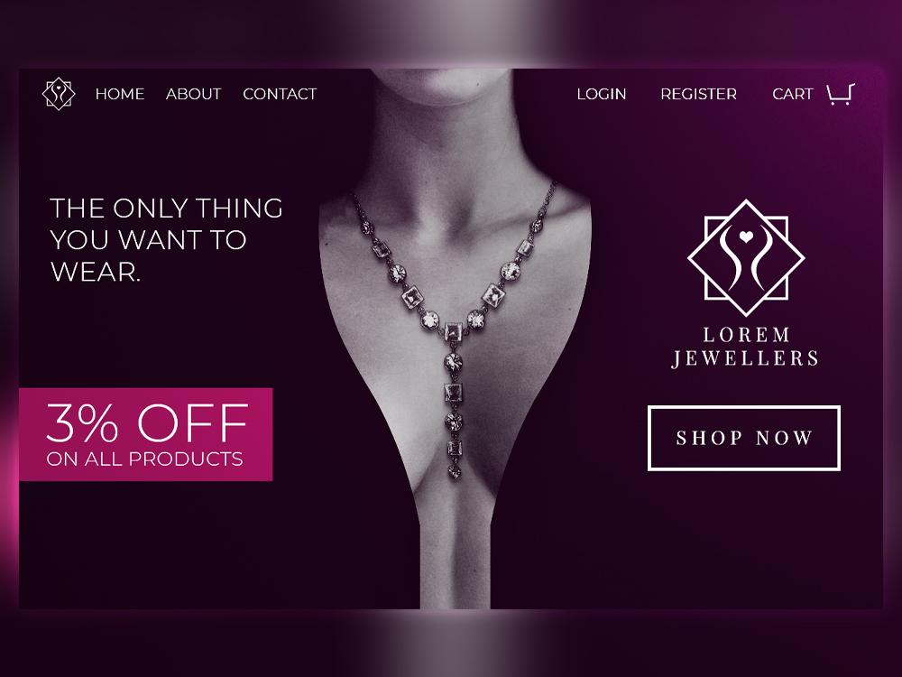 Jewellery Store Logo And Website Design banner design jewellery compositing illustrator photoshop branding graphicdesign hero image landing page home page logo design web design