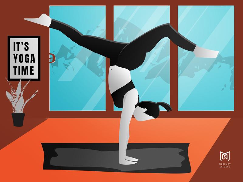 Yoga Illustration. yoga pose compositing flat design leggings graphic design fitness editorial photoshop illustrator illustration yoga