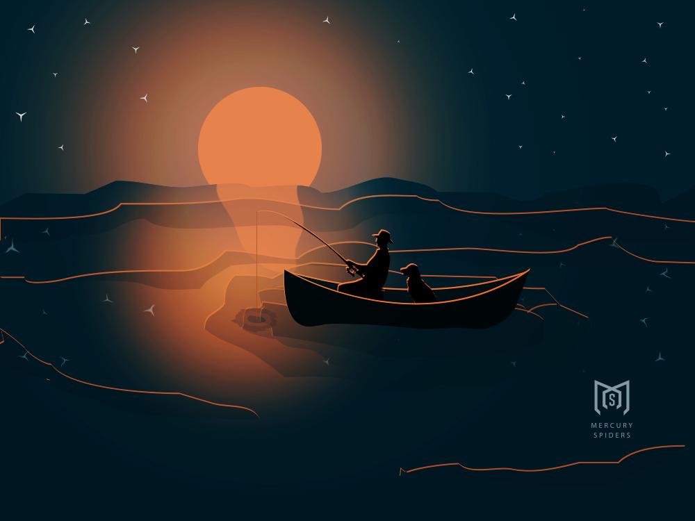 Sunset Fishing With Dog  vector Illustration vector art vector hero image landing page poster illustrator photoshop art photoshop sea fishing dog illustration sunset