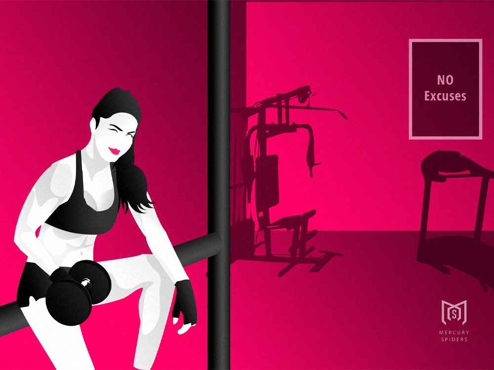 Woman In The Gym Illustraion web design vector art flat design hero image landing page graphic design photoshop illustrator illustration fitness gym