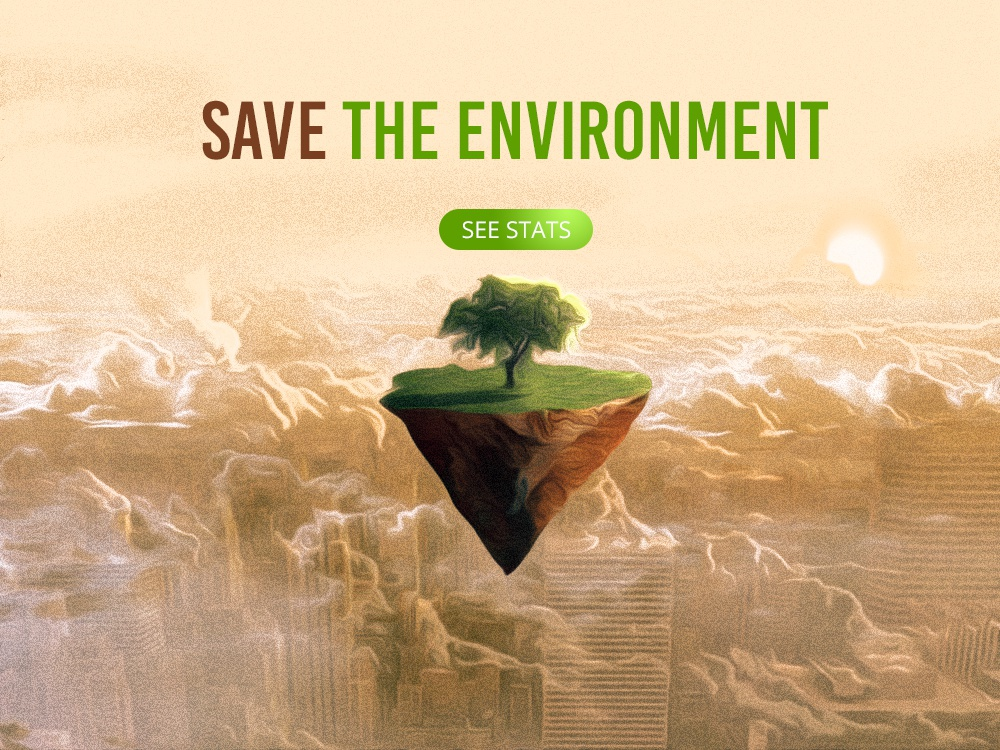 Save The Environment - landing page. graphic design home page welcome page environment tree hero image compositing landing page web design photoshop art photoshop