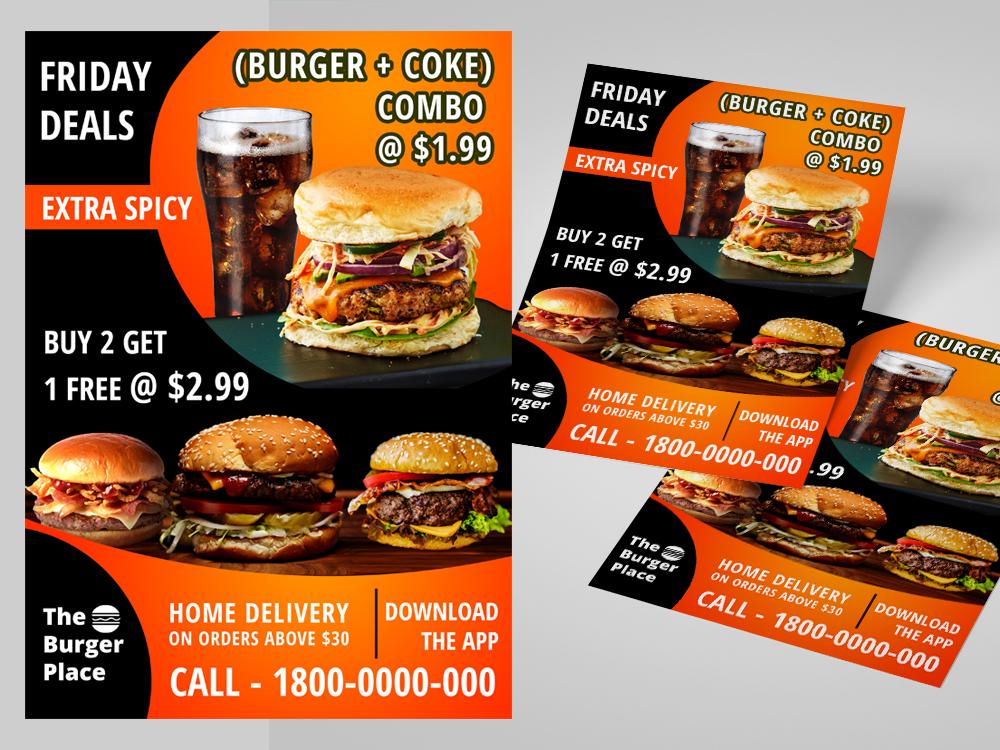 Burger Brochure Design. food photoshop compositing graphic design banner design advertising burger leaflet flyer brochure