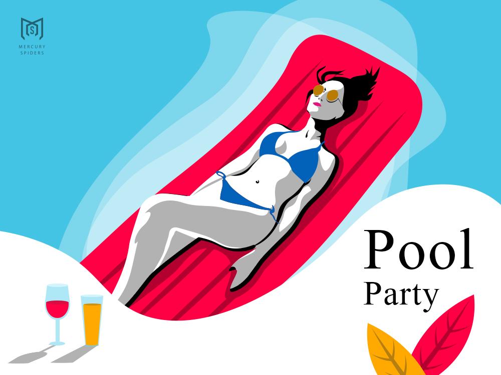 Bikini Pool Party Illustration post card poster landing page summer graphic design cocktail swimsuit bikini pool vector art vector photoshop art photoshop illustrator illustration