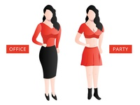Office VS Party woman illustration