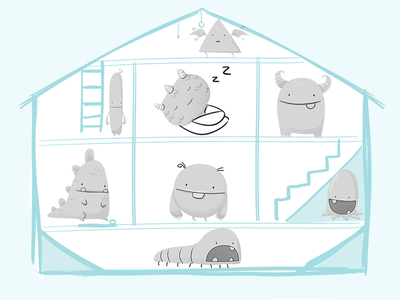 Monsters monsters characters illustration concept storyboard