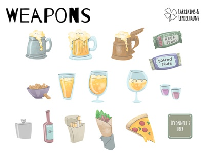 L&L - Weapons weapons concepts illustration game beer kebab pizza nuts pub