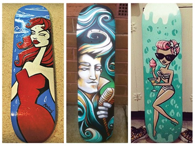I paint skateboards no.1 red hair elvis pinup characters new life upcycle acrylic painting skateboard
