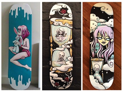 I paint skateboards no.2 bunny skeleton monsters girl life hourglass characters new life upcycle acrylic painting skateboard