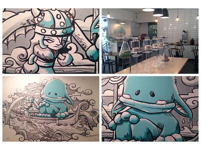 Drugstore Espresso Mural cafe character painting wallart mural norse yeti viking