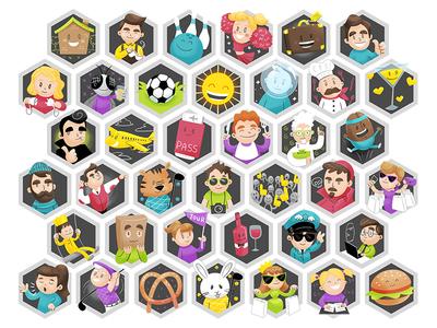 Achievements characters location social ui app rewards achievements