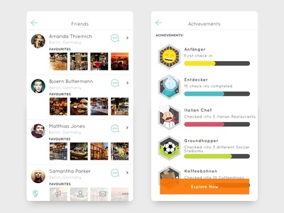 Location-based social app ios friends achievements social location-based mobile app ui