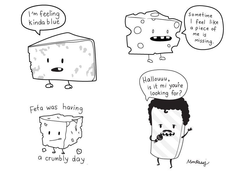 Cheeses cute character swiss feta blue cheese silly funny pun puns