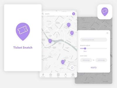 App - Ticket Snatch search buy map icon design location ticket app ui