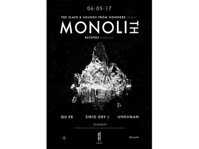 Monolith Records Showcase Poster Design gig music venice colony space graphic graphic design showcase records design poster