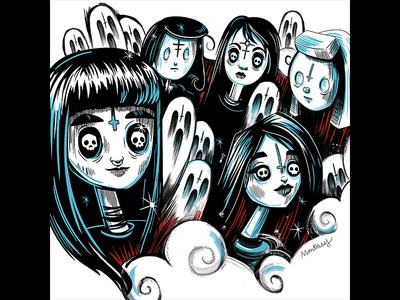 Visions Magazin femme girl ghosts magazine skull character doom metal music illustration