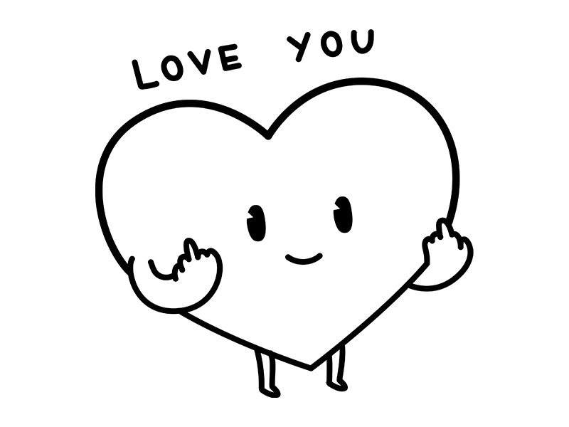 Love You happy sweet product tshirt tee clothing funny illustration character cute hate love