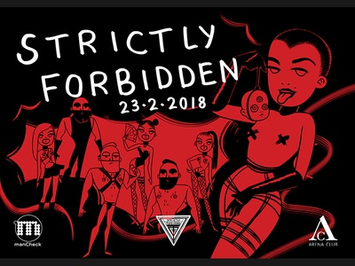 Strictly Forbidden Flyer techno rave berlin music party characters sexy kinky fetish character flyer