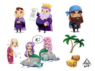 Educational Poster Characters magic royal gold palmtree magician mermaids mermaid pirate king fantasy map illustration