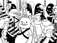 The Zoo character characterdesign berghain techno nightclub darkrooms escher blackandwhite funny comic dinosaur flamingo characterart illustration creatures characters humans animals berlin club