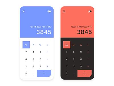 Calculator App design blue orange concept clean androit ios app ux ui dayliui calculator ui calculator app