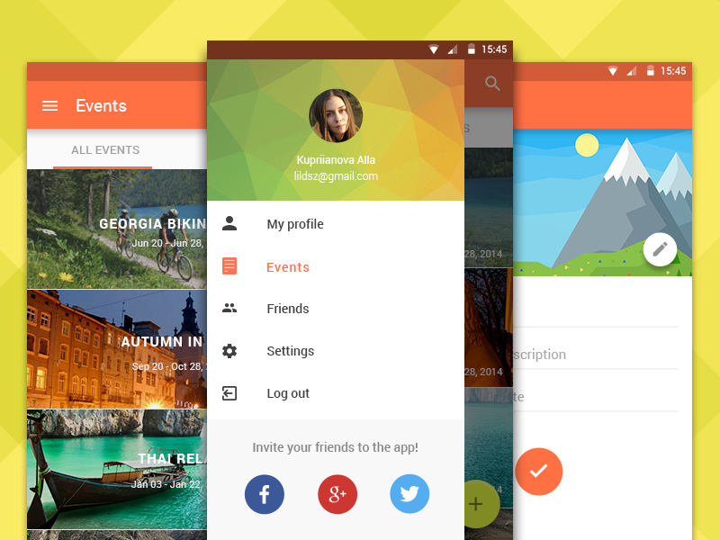Travel Club app app android interface mobile ui ux best lolipop material design android 5.0