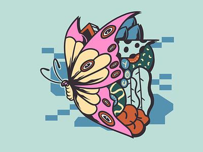 Butterfly illus vector design album art album chara artw art merc illustration