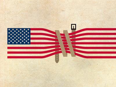 Tighten Up illustration america flag belt nyt