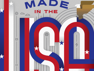 USA canadian lettering eagle illustration