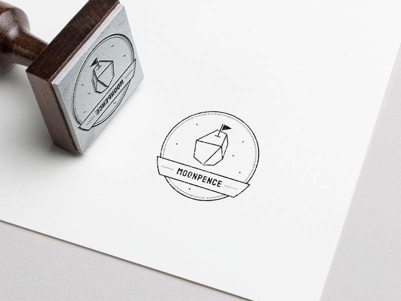 Moonpence Stamp idenity brand identity meteor space typography logo brand branding emblem stamp