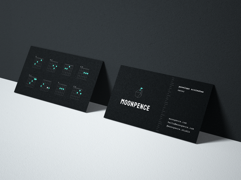 Moonpence Branded Business Cards layout typography space asteroid illustration logo identity branding brand business logo moonpence guitar chord business card