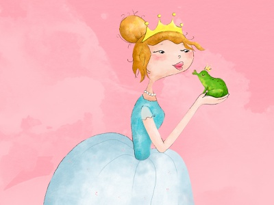 A Magic Kiss for a Frog fairy kiss frog hair princess draw children illustration design photoshop