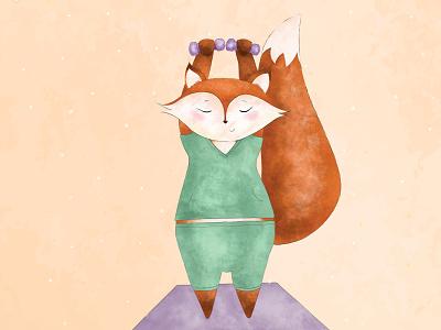 Yoga Fox yoga fox children design illustration photoshop