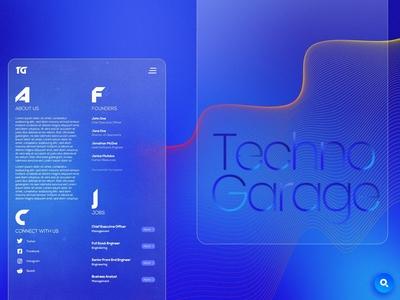 Techno Garage About Page blue elegant web design ui colors blend layers gradient design gradient design tamil